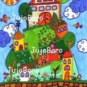 Körbe-körbe a hegyen, Baba-mama-gyerek, Dekoráció, Képzőművészet, Vidám, színes kép, filccel, lakkfilccel készítve. Saját, eredeti rajz.  Mérete: 21 x 29 cm, Meska