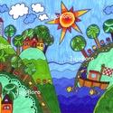 Hajóval, Baba-mama-gyerek, Dekoráció, Képzőművészet, Vidám, színes kép, filccel, lakkfilccel készítve. Saját, eredeti rajz.  Mérete: 21 x 29 cm, Meska