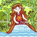 Tavitündér, Baba-mama-gyerek, Dekoráció, Képzőművészet, Vidám, színes kép, filccel, lakkfilccel készítve. Saját, eredeti rajz.  Mérete: 21 x 29 cm, Meska