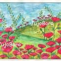 Pipacsos rét, Baba-mama-gyerek, Dekoráció, Képzőművészet, Szép, pipacsos rétet festettem akvarell technikával.  Saját, eredeti rajz.  Mérete: 21 x 29 cm, Meska