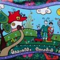 családi portré - Tündöklő Mivilág 2012...julcsigától..., Otthon, lakberendezés, Utcatábla, névtábla, Falikép, Isten hozott mindenkit...  Vidám, kedves családi portré:  Farostlemezre akrillal festett, akrilla..., Meska