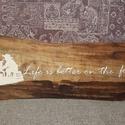"""""""Life is better on the farm"""" fali, asztali dekor, Otthon, lakberendezés, Falikép, Asztaldísz, Szélezetlen fa lapra készítettem el ezt a dekort. Elsőként lazúrral kezeltem a fát, majd akril festé..., Meska"""