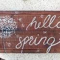 """""""Hello spring"""" ajtódísz, Otthon, lakberendezés, Ajtódísz, kopogtató, Falikép, Festett tárgyak, Kettő darab fa deszka lapra készítettem el ezt a dekort. Elsőként lazúrral kezeltem a fát, majd akr..., Meska"""