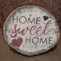 """""""home sweet home"""" kétoldalas fadekoráció krétatáblás üzenőfelülettel , Otthon, lakberendezés, Ajtódísz, kopogtató, Falikép, Fa karikaszeletre készítettem el ezt a dekort. Megfordítható, kétoldalas. A karika egyik oldalát akr..., Meska"""