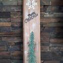 """""""Karácsonyi fenyő"""" ajtódísz, Otthon, lakberendezés, Dekoráció, Karácsonyi, adventi apróságok, Ajtódísz, kopogtató, Ünnepi dekoráció, Festett tárgyak, Fa deszkalapra akrillal festettem meg ezt a karácsonyi hangulatot idéző dekort. Magassága kb 60cm, ..., Meska"""