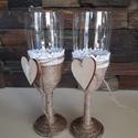 Pezsgőspohár esküvőre az ifjú párnak vintage stílusban, Esküvő, Szerelmeseknek, Esküvői dekoráció, Nászajándék, Vintage stílusban, kenderzsineggel és csipkével díszítettem a pezsgős poharakat.  A menyasszony és v..., Meska