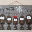"""""""Karácsonyi rénszarvas családi portré"""" ajtódísz, Karácsonyi, adventi apróságok, Otthon, lakberendezés, Karácsonyi dekoráció, Ajtódísz, kopogtató, Festett tárgyak, Ez a kedves családi portré mosolyt csal az otthonunkba érkező vendégek számára. Kérésre a Te család..., Meska"""
