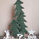 """""""Zöld fenyők"""" karácsonyi dekor , Dekoráció, Ünnepi dekoráció, Karácsonyi, adventi apróságok, Karácsonyi dekoráció, Fa deszkalap az alapja az akrillal festett fenyőknek, amit néhány apró kiegészítővel egészí..., Meska"""