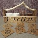"""""""I Love Coffee"""" kávés láda, Otthon, lakberendezés, Tárolóeszköz, Láda, Festett tárgyak, A ládát magam készítettem fenyő és bükk deszkalapokból, a fogantyúja hántolt fűzfa gally. A ládikót..., Meska"""