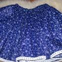 E26csidaR-nak! Kékfestő néptáncos szoknya, 50 cm hosszú kékfestő pörgős szoknya csipke d...