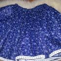 Kékfestő szoknya, 40 cm hosszú szoknya csipke díszítéssel és gu...