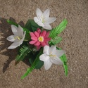 Harisnya  virág., Dekoráció, Mindenmás, Három fehér és egy rózsaszín virágból álló dekoráció. Gondozást nem igényel. szép szí..., Meska