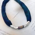 Verec megrendelése Egzotikus nyaklánc nőknek, Törzsi nyaklánc nőknek, kék mintás selyemzsin...