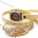 Női karóra, Antik bronz órakarkötő, Vintázs karkötőóra, Ékszer, Karóra, óra,  Kiváló minőségű növényi cserzett marhabőrből készült, egyedileg festett (vintage sárga), koptatott ..., Meska
