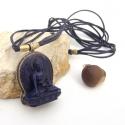 Buddha nyaklánc, Amulett nyaklánc, Ezoterikus, Spirtuális, Ékszer, Nyaklánc, Bivalybőrből készült nyaklánc Nepálból (Kathmandu) származó, kézműves Buddha  medállal.  Mágneskapoc..., Meska
