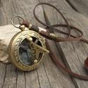 Napóra-iránytű nyaklánc, Férfi/Női bivalybőr nyaklánc antik bronz vintage napóra-iránytűvel, Ékszer, Nyaklánc, Antik bronz, vintage napóra-iránytű valódi bivalybőr zsinóron. Egy fantasztikus darab, vele soha nem..., Meska