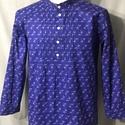 népi ing kékfestő mintás pamutvászon, Álló gallérral, natúr gyöngyház gombokkal, a...