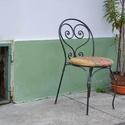 Kovácsolt vas szék, Bútor, Otthon, lakberendezés, Szék, fotel, Kovácsolt vas szék kárpitozott ülőkével. Méret: 44x88x53 cm, Meska