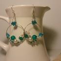 smaragd és türkiz fülbevaló, Ékszer, Fülbevaló, Smaragd, türkiz, és áttetsző üveg gyöngyökből készítettem ezt a fülbevalót.  Alapja fém..., Meska