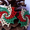 Kokárda fülbevaló, Ékszer, Fülbevaló, Kedvenc nemzeti ünnepem jelképe, a kokárda ihlette ezt a nemzeti színű gyöngyből fűzött fü..., Meska
