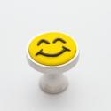 Sötétben foszforeszkáló smile fogantyú! , Otthon, lakberendezés, Dekoráció, Bútor, Fogantyú, Gyurma, Üvegművészet, Egyedi készítésű design fogantyú!   Alapja egyedi tervezésű alumínium, amibe egy egyedi készítésű g..., Meska
