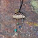 zápor, Ékszer, Nyaklánc, Kavics - réz - ásványgyöngyök   Medál rész: 5,5 cm, a duplán 54 cm hosszú fekete selyemzsinór hosszá..., Meska
