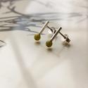 vidám darabok zöld jade, Ékszer, Fülbevaló, Rohangálós fülbevalók zöld jade gyöngyös  darabja. 4,3mm-es zöld jade gyöngyöt foglaltam egybe,egy 1..., Meska