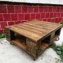 Raklap stílusú indusztriál asztal, raklap dohányzóasztal ipari kerekekkel, új faanyagból, Bútor, Asztal, Famegmunkálás, Fél raklap méretű, vagyis 80x60 cm-es asztal, raklap stílusban, ám nem raklapból, hanem gyalult fen..., Meska