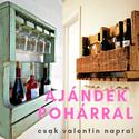 Valentin napi ajándék bortartó grátisz poharakkal, fa borosüveg tartó, boros polc, rusztikus, vintage raklap bortartó