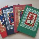 Karácsonyi képeslap, Naptár, képeslap, album, Képeslap, levélpapír, Patchwork, foltvarrás, Kinyitható tarácsonyi képeslap patchwork technikával készítve, szabadkézi rajzzal kiegészítve. Üdvö..., Meska