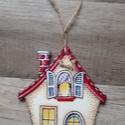 Ajtótábla házikós, Otthon, lakberendezés, Ajtódísz, kopogtató, Fából készült ajtótábla.15cm magas 11.5cm széles,4 mmes fára készül, Meska