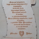 Esküvői meghívó fából, Esküvő, Meghívó, ültetőkártya, köszönőajándék, 20cmx14cmes fából készült meghívó.3 vagy 4mmes fából, Meska
