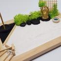 Zen kert - Buddhával, füstölővel, Mini Zen kert, amit egy 18 x 13 cm-es natúr képk...