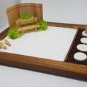 Zen kert - paddal és füstölővel, Mini Zen kert, amit egy 18 x 13 cm-es natúr képk...