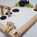 Zen kert - elefánttal és füstölővel, Mini Zen kert, amit egy 18 x 13 cm-es natúr képk...