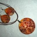 Fülbevaló-nyaklánc garnitúra, Ékszer, óra, Ékszerszett,  A nyaklánc   alapja 5 cm-es fa medál. melyet különleges technikával festettem narancs-barna-br..., Meska