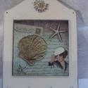Fali kulcstartó tábla, Dekoráció, Otthon, lakberendezés, Tárolóeszköz, Rétegelt lemezből készült fali kulcstartó tábla 4 db erős kampóval.  A táblát több rétegben festette..., Meska