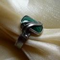Malachit gyűrű, Ékszer, óra, Gyűrű, Saját tervezésű egyedi kézműves alkotás.  A gyűrű Tiffany technikával készült malachit é..., Meska