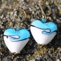 Türkíz kék üvegszív fülbevaló muránói üveggel, Gyönyörű vidám fülbevaló üveg és bronz Hos...
