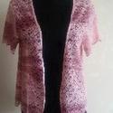 Rózsaszín csipke, Ruha, divat, cipő, Női ruha, Kabát, 40-42-es méretű, rövid ujjú csipkekabátka. Anyaga kissé elasztikus, színében a rózsaszín t..., Meska
