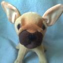Francia bulldog, Játék, Baba-mama-gyerek, Játékfigura, Plüssállat, rongyjáték, Saját minta alapján készült francia bulldog kölyök. kb. 17 cm magas.   Mosható alacsony hőfokon.  Kö..., Meska