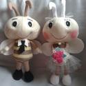 Méhecskepár, Esküvő, Dekoráció, Játék, Méhecskepár alkalomhoz illő öltözetben. Ideális ajándék az ifjú párnak. Kb. 25 cm magasak.  Szükség ..., Meska