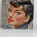 Audrey , Művészet, Festmény, Akril, Festészet, Egyedi, saját készítésű Audrey Hepburn portré festmény. A kép akrillal készűlt farostra. A kép mére..., Meska