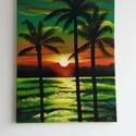 """Pálmafák, Művészet, Festmény, Akril, Festészet, Egyedi, saját készítésű """"Pálmafák"""" c. Festményem.  A kép gyönyörű vidám színeket kölcsönöz, a naple..., Meska"""