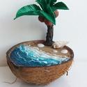 Pálmafa dekoráció, Otthon & Lakás, Dekoráció, Dísztárgy, Festett tárgyak, Egyedi, kézzel készített palmafás dekorációm, amely kiválóan mutat a fűrdőszobában vagy a nappaliba..., Meska