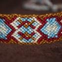 Space karpánt vagy nyakék, Ékszer, óra, Karkötő, Különleges mintázatú karkötő, de hosszú fonatai miatt akár indián nyakékként is hordható.  Karkötő m..., Meska