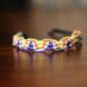 Fesztivál karkötő, Ékszer, óra, Karkötő, Fesztiválos, bulis, nyári színeket idéző karkötő.  Méretek: 1 cm széles és 25 cm hosszú.  Hurkos búj..., Meska