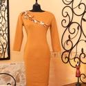 Mandarinos okker kötött ruha hímzett applikációval, Ruha, divat, cipő, Női ruha, Ruha, Vigyél színt a szürke hétköznapokba...  Gyönyörű hímzett rátétes, különleges színű alkalmi  ruha!  D..., Meska