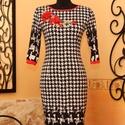Pepita mintaátmenetes ruha 3D rózsa applikációval , Ruha, divat, cipő, Női ruha, Ruha, Vigyél színt a szürke hétköznapokba...  Kellemes pepita mintaátmenetes alap ruha  hímzett 3D rózsás ..., Meska