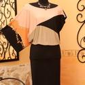Rózsakvarc feketével aszimmetrikus alkalmi ruha, Ruha, divat, cipő, Női ruha, Ruha, Vigyél színt a szürke hétköznapokba...  Dekoratív, 3/4-es ujjú - ujjatlan, szélesen dekoltált - akár..., Meska